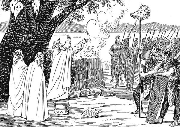 wojownicy i kapłani składają ofiary w świętym gaju