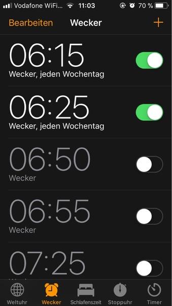 deine Wecker für Morgen