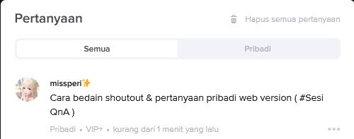 Cara bedain shoutout  pertanyaan pribadi web version  Sesi QnA