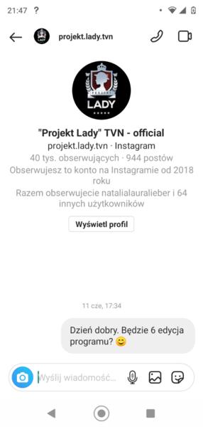 A tutaj wiadomość do oficjalnego konta Projektu Lady o kolejny sezon