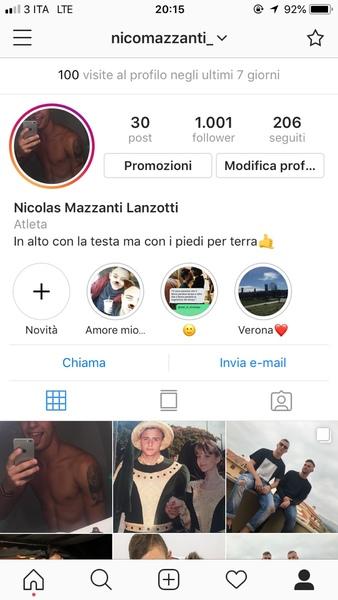 Screen del tuo profilo Instagram