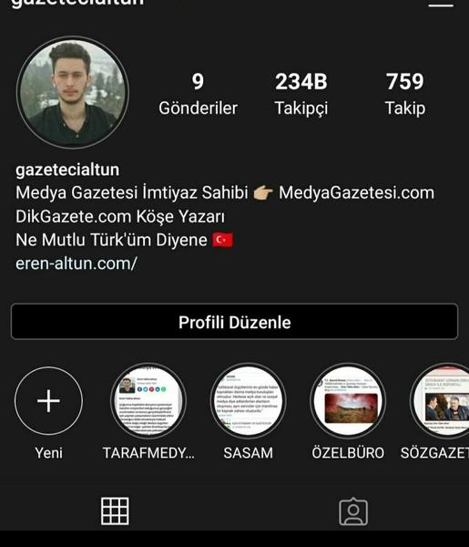 Instagramdan beni takip edin gazetecialtun