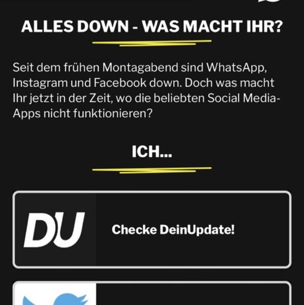 Ist insta und WhatsApp bei euch auch down